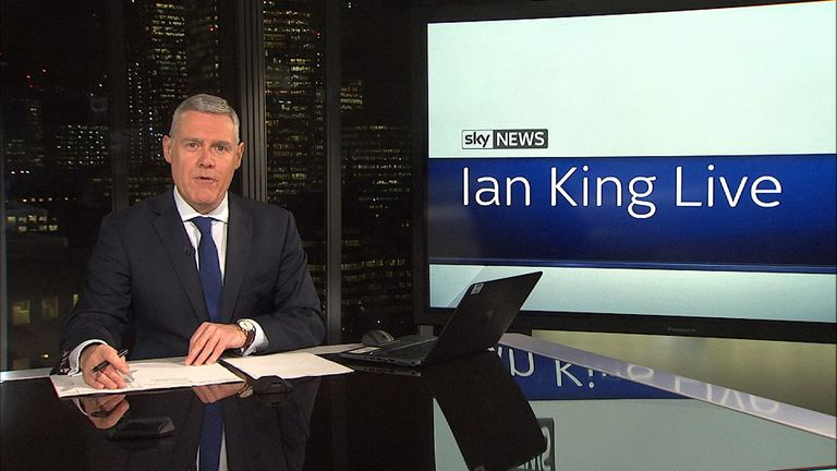 Ian King presenting in the business studio