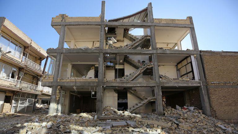 Damaged building in Sarpol-e Zahab county in Kermanshah, Iran