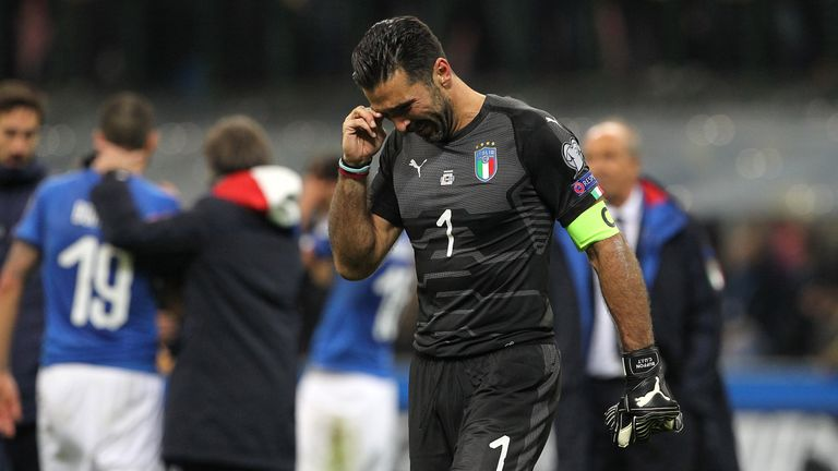 Gianluigi Buffon of Italy shows his dejection at the end of the FIFA 2018 World Cup Qualifier Play-Off