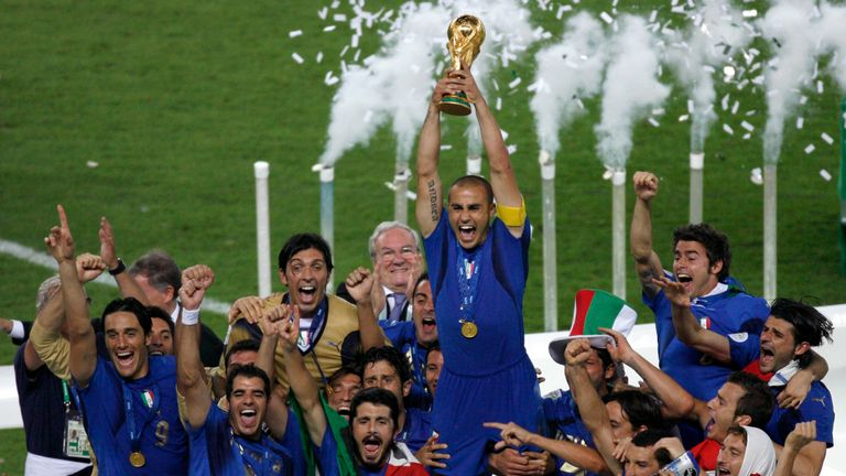 Italy's players lift the World Cup following the 2006 final
