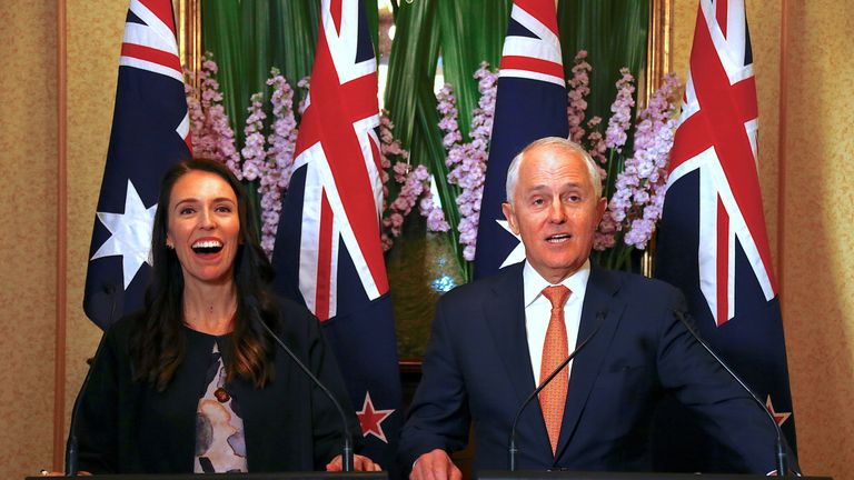 New Zealand PM Jacinda Ardern meets with Australia PM Malcolm Turnbull