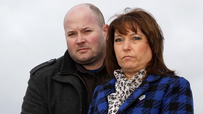 Dennis Fergus and her husband Stewart in 2013 on the occasion of the 20th anniversary of the death of Dennis James Bulger