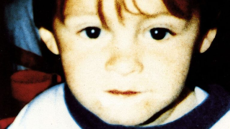 James Bulger, who was aged two when he murdered by 10-year-olds Jon Venables and Robert Thompson in Bootle, Merseyside in 1993