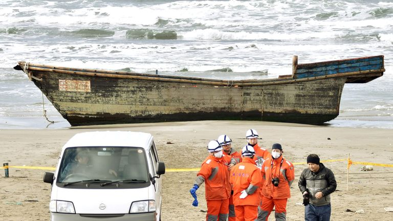 The wooden ship with eight skeletal bodies was found on a beach in the Sea of Japan on Monday