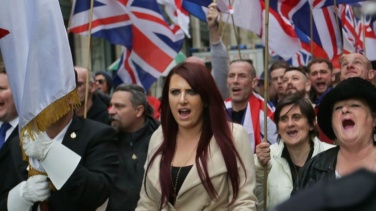 Deputy leader Jayda Fransen at a march in central London