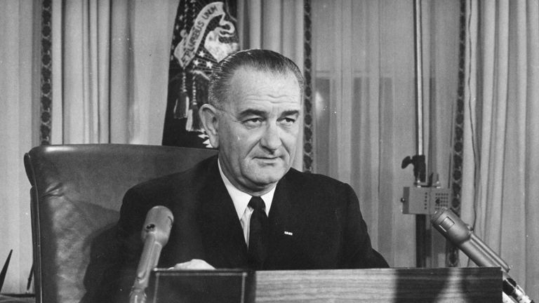 President Johnson makes a television address