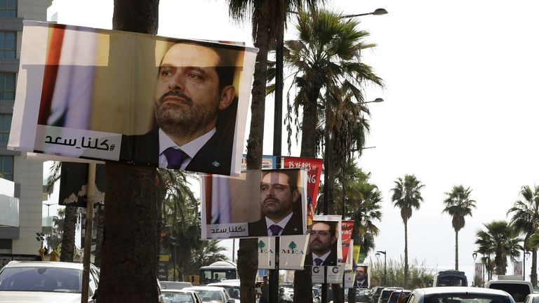 Posters of Lebanese Prime Minister Saad Hariri in Beirut, with the caption reading 'We are all Saad'