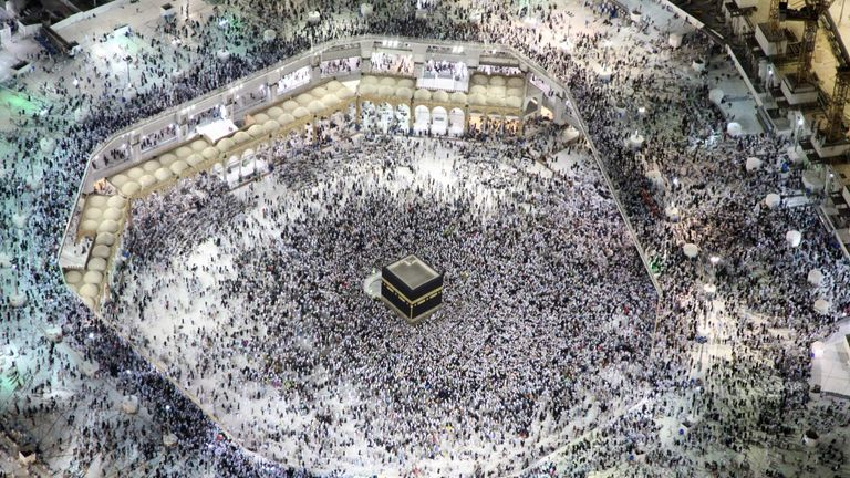 Pilgrims during the annual Hajj at Islam's holiest shine at the Grand Mosque in Mecca in Saudi Arabia