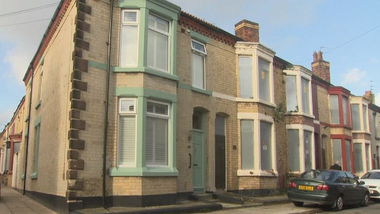 Terrace houses on street in Liverpool.
