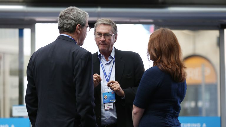 Lord Ashcroft, centre, during the Conservative Party Conference in 2014