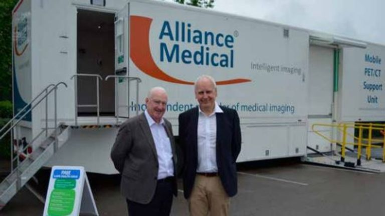 Former Manchester Lord Mayor Paul Murphy with MCIP Lung Clinical Lead Dr Phil Barber. Pic Macmillan