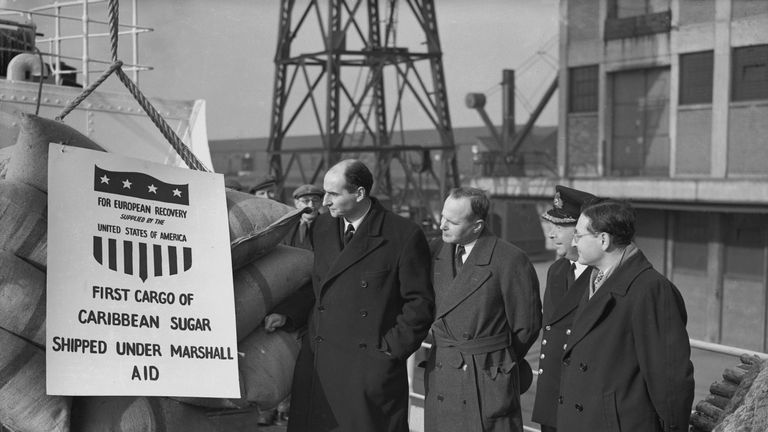 A sugar shipment arrives in London as part of the post-war Marshall Plan