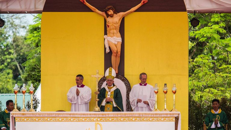 Pope Francis performs a public mass in Kyaikkasan sports stadium on November 2