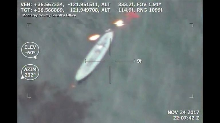 Aerial image of Grigor and Armen's boat. Pic: Monterey County Sheriff's Office