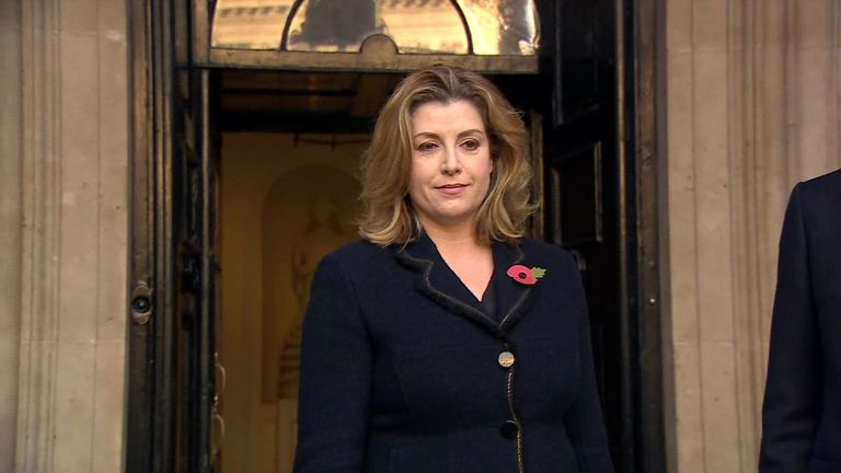 Penny Maudaunt arriving at Whitehall.