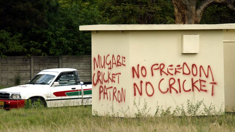 Graffiti protesting against the England tour to Zimbabwe in November 2004.