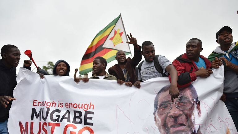 Protesters in Harare demand the resignation of Mr Mugabe
