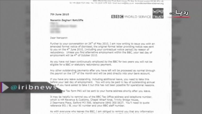 A BBC redundancy letter the Iranian regime claims is evidence Nazanin Zaghari-Ratcliffe was involved in undermining Iran