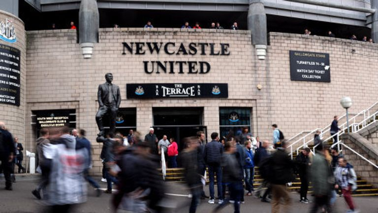 Newcastle United fans outside the ground before the Premier League match at St James' Park, Newcastle