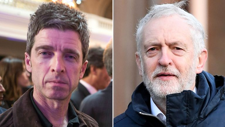 Noel Gallagher and Jeremy Corbyn. Pic: Davidson/SilverHub/REX/Shutterstock