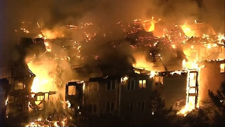 At least 20 people were taken to hospital after the fire at the senior living community. Pic: WPVI