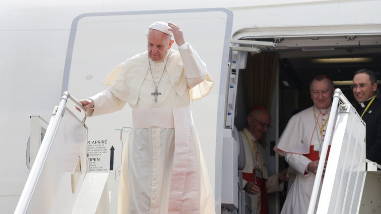 Pope Francis arrives at Yangon International Airport, Myanmar