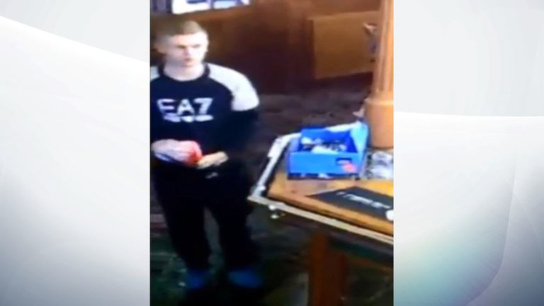 The thief placed the tin inside the front of his tracksuit bottoms. Pic: Facebook/Dickens Inn