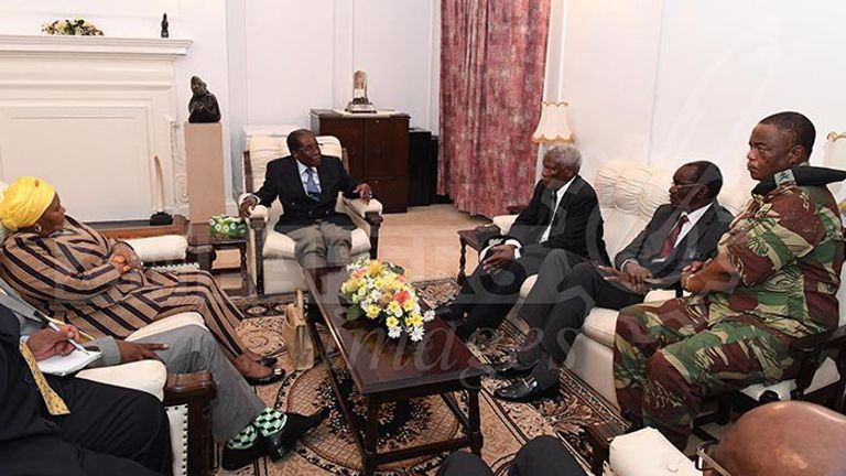 Robert Mugabe meets army chief and South African envoys