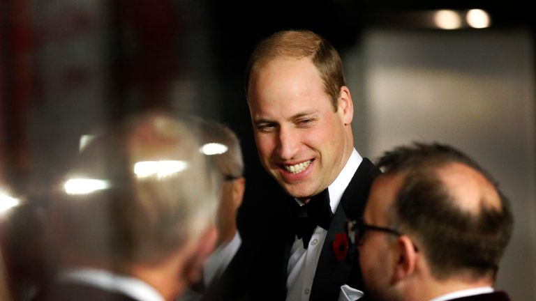 Britain's Prince William, the Duke of Cambridge, Royal Patron of SkillForce, smiles as he attends the charity's annual Gala, jointly hosted by The Children's Trust in London, Monday, Nov. 6, 2017.  The evening, that has a circus theme, celebrates the start of a new partnership between the charities, which have shared aims and ambitions to improve the lives and life chances of young people. (AP Photo/Frank Augstein, pool)