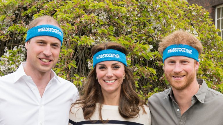 The Duke and Duchess of Cambridge and Prince Harry are spearheading a new campaign called Heads Together in partnership with inspiring charities, which aims to change the national conversation on mental wellbeing. The campaign has the huge privilege of being the 2017 Virgin Money London Marathon Charity of the Year. At Kensington Palace on April 21, 2016 in London, England. (Photo by Nicky J Sims/Getty Images for Royal Foundation)