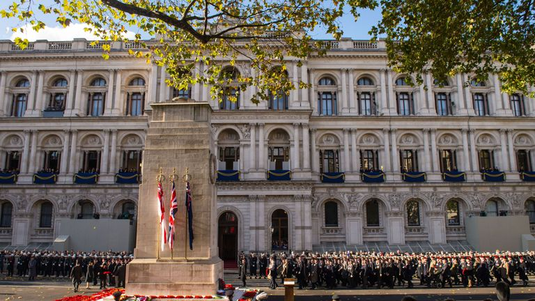 General view of the parade during the annual Remembrance Sunday Service at the Cenotaph memorial in Whitehall, central London.