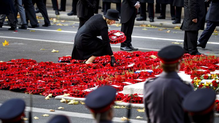 Poppy wreaths are pictured at the Remembrance Sunday ceremony at the Cenotaph on Whitehall in central London, on November 12, 2017. Services are held annually across Commonwealth countries during Remembrance Day to commemorate servicemen and women who have fallen in the line of duty since World War I