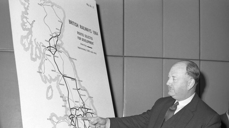 Thousands of stations were axed at Dr Richard Beeching's recommendation