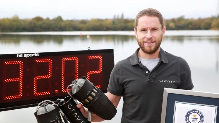 Richard Browning, founder and pilot at Gravity Industries Ltd, sets the Guinness World Record for 'the fastest speed in a body-controlled jet engine power suit', at Lagoona Park in Reading, in celebration of Guinness World Records Day 2017.