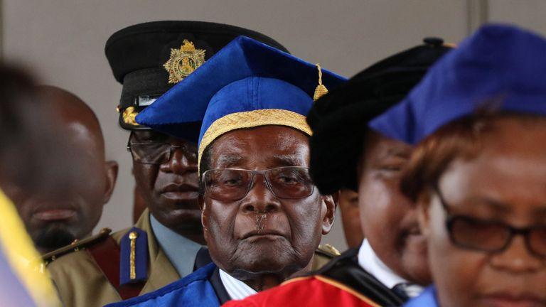 Robert Mugabe attends a university graduation ceremony in Harare