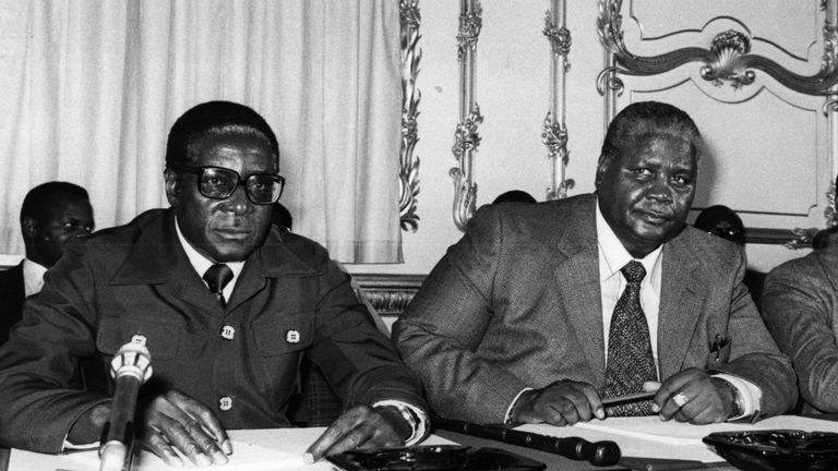 Robert Mugabe and ZAPU leader Joshua Nkomo at the Lancaster House talks in 1979