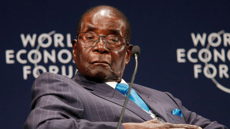 Zimbabwean President Robert Mugabe participates in a discussion at the World Economic Forum on Africa 2017 meeting in Durban, South Africa May 4, 2017.