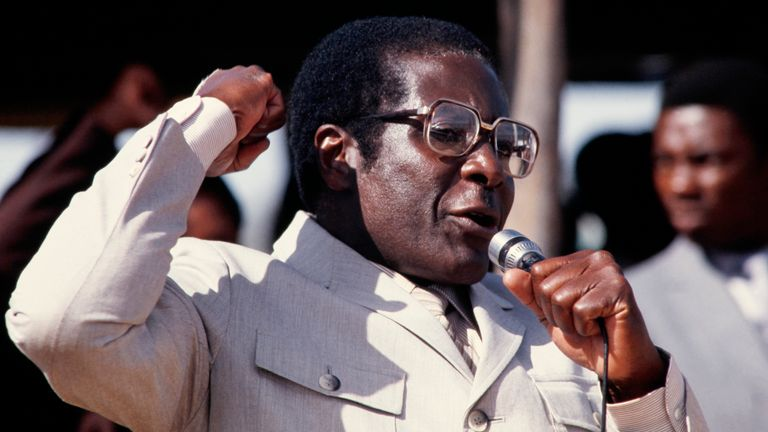 Zimbabwe's Prime Minister Robert Mugabe addresses the crowd in July 1984 in Harare stadium