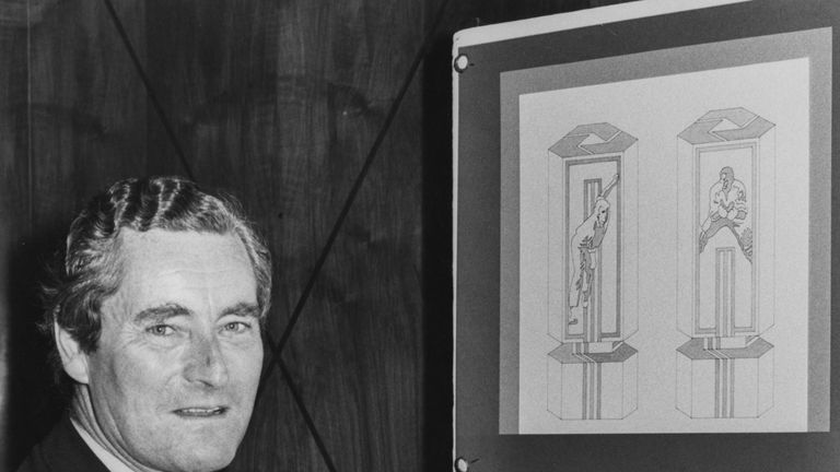 Robin Leigh-Pemberton, governor of the Bank of England, pictured with the winning design for the new cricket trophy, the National Westminster Bank Trophy, at Goldsmiths Hall in London, July 30th 1980. (Photo by Ray Moreton/Keystone/Getty Images)