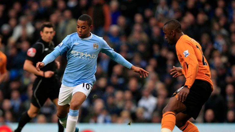 Robinho in action for Manchester City against Hull City in 2009