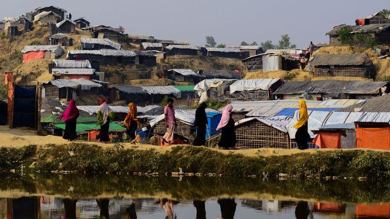 Rohingya refugees at Balukhali camp in Bangladesh, where around 618,000 Muslim Rohingya have fled