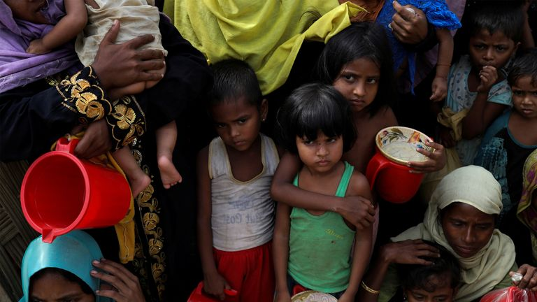 Rohingya at a refugee camp near Cox's Bazaar, Bangladesh