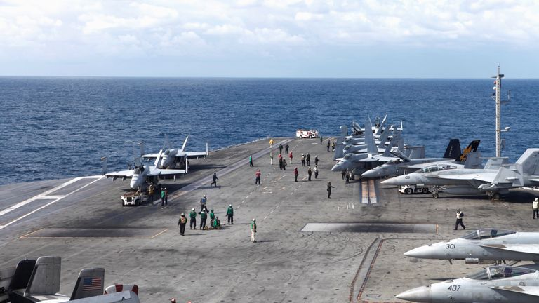 The aircraft carrier USS Ronald Reagan conducts joint drills with the South Korean navy at sea (file image)