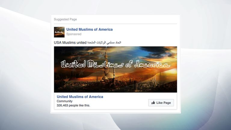 A sponsored Russian page representing US Muslims
