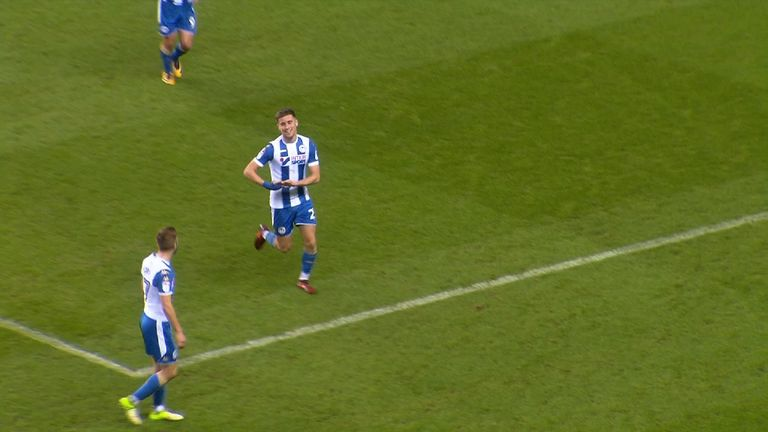 Ryan Colclough celebrates his goal with a baby cradling arm gesture