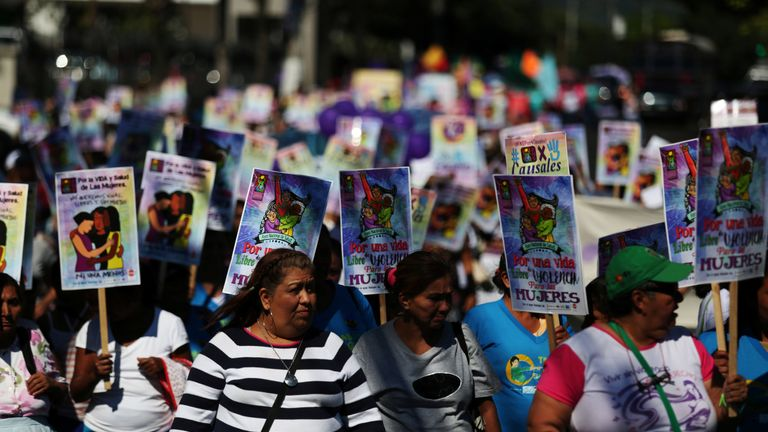 Women participate in a demonstration to commemorate the U.N. International Day for the Elimination of Violence against Women in San Salvador, El Salvador, November 24, 2017