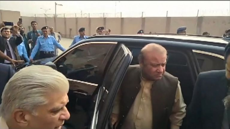 Pakistan's ousted Prime Minister Nawaz Sharif arrives at court