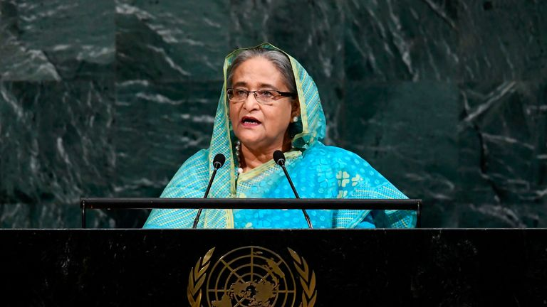 Bangladeshs Prime Minister Sheikh Hasina addresses the 72nd Session of the United Nations General assembly at the UN headquarters in New York on September 21, 2017. / AFP PHOTO / Jewel SAMAD (Photo credit should read JEWEL SAMAD/AFP/Getty Images)