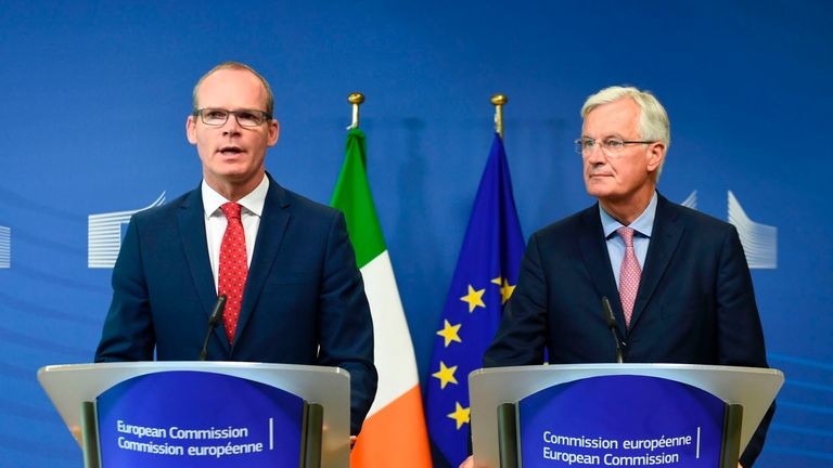 Irish Foreign Minister Simon Coveney (L) and EU chief Brexit negotiator Michel Barnier address a joint press conference on the Brexit at the EU headquarters in Brussels on September 4, 2017. The EU's chief Brexit negotiator said on September 4 he did not want to 'teach lessons' to the British people, apparently seeking to calm a row over the talks on Britain's departure from the bloc. / AFP PHOTO / JOHN THYS (Photo credit should read JOHN THYS/AFP/Getty Images)