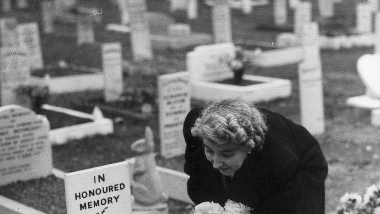 Flowers being laid at Simon's grave following his death in 1949